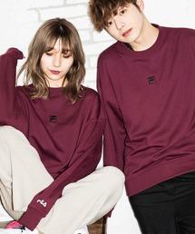 【BASQUE -enthusiastic design-】FILA/フィラ BASQUE magenta 別注 ロゴ刺繍オーバーサイズ プルオーバースウェットワイン