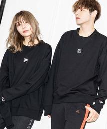 【BASQUE -enthusiastic design-】FILA/フィラ BASQUE magenta 別注 ロゴ刺繍オーバーサイズ プルオーバースウェットブラック