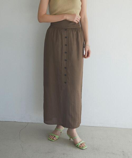 【EMMEL REFINES】【手洗可能】EM フロントボタン Iライン ロングスカート