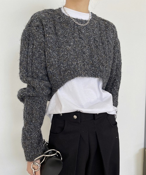【chuclla】【2021/AW】Short round neck cable knit chw21a066