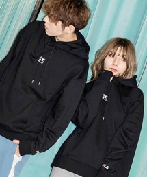 【BASQUE -enthusiastic design-】FILA/フィラ BASQUE magenta 別注 ロゴ刺繍オーバーサイズ プルオーバーパーカーブラック
