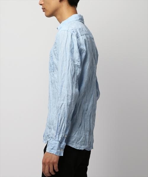 リネンシャンブレースモールカラーシャツ