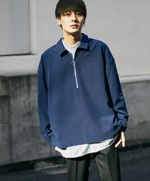 kutir(クティール)の【ビッグシルエット】襟付きハーフジップシャツプルオーバー(シャツ/ブラウス)