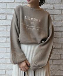 CORNERS(コーナーズ)の鹿の子編みチーズロゴ刺繍ニットプルオーバー(ニット/セーター)