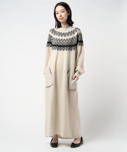 unfil / アンフィル ジャガード ニットドレス JQD KNIT DRESS