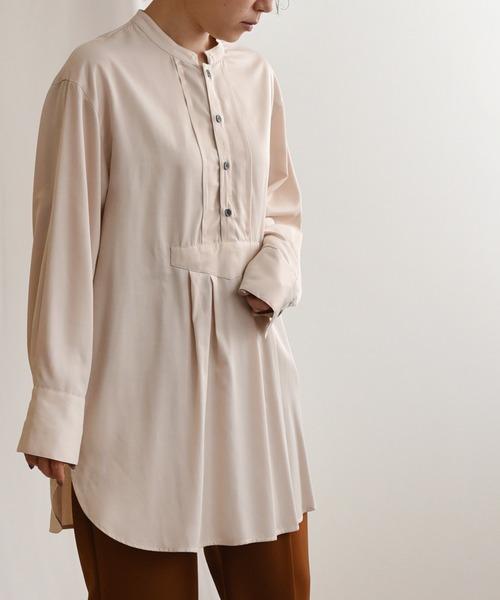 光沢ツイルチュニックドレスシャツ