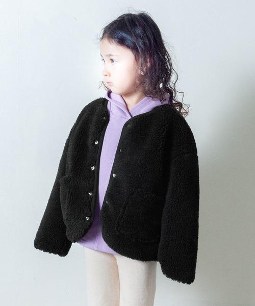 【&yam】ボアリバーシブルノーカラージャケット/アウター