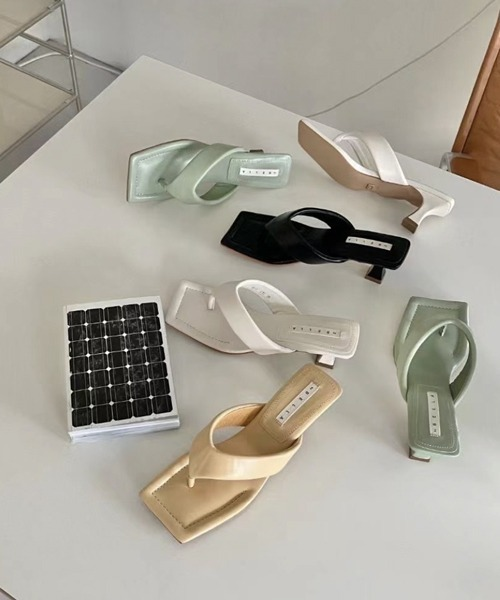 【chuclla】【2021/SS】Square thongs sandals chs149