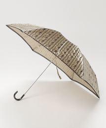 雨晴兼用 サテンジュエリープリントミニ折りたたみ傘 1381ベージュ