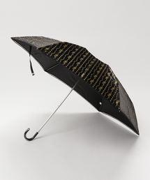 雨晴兼用 サテンジュエリープリントミニ折りたたみ傘 1381ブラック