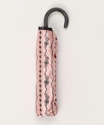 雨晴兼用 サテンジュエリープリントミニ折りたたみ傘 1381ピンク