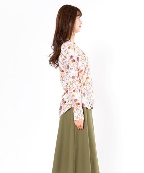 【ICHI】 ボタニカルプリントオープンカラーシャツ