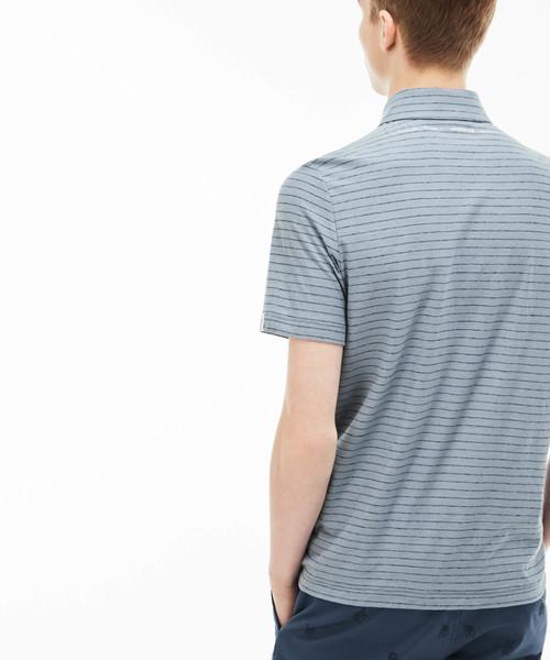 ボーダーコットンリネンジャージー ポロシャツ (半袖)