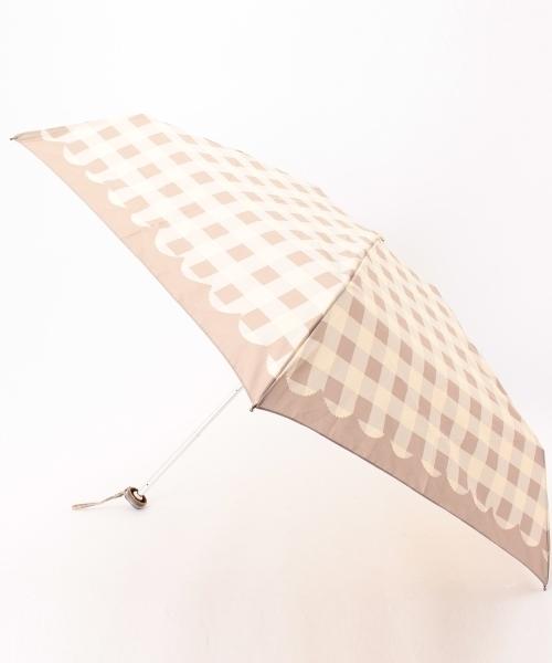grove(グローブ)の「ギンガム晴雨兼用折り畳み傘(折りたたみ傘)」|グレー