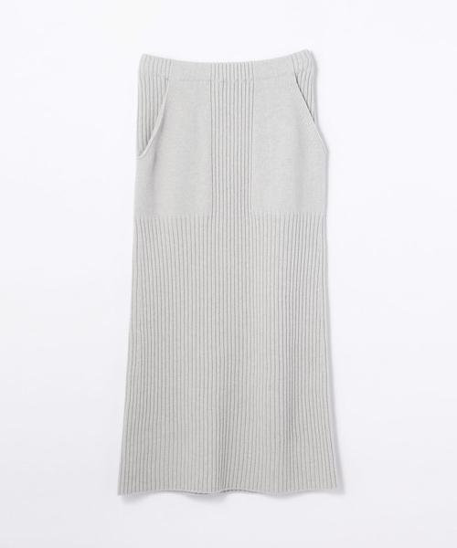 注目ブランド ウールカシミヤリブ Iラインミディスカート, タカシマグン cedc3709