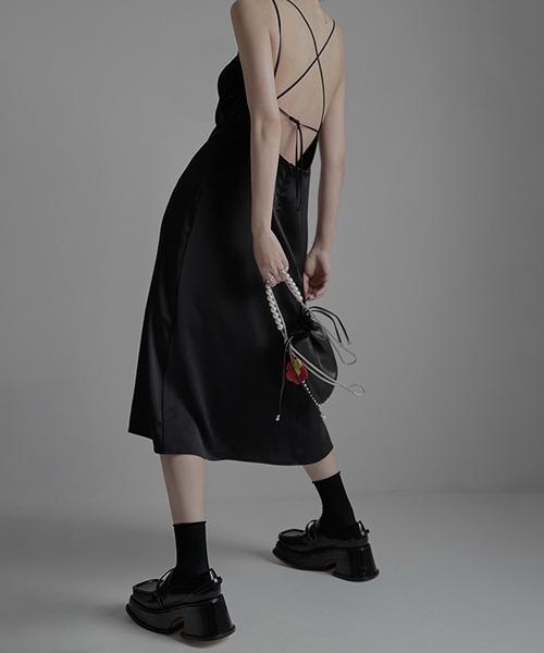 【chuclla】Satin like strap dress chw1536