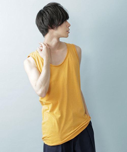 ツインロールネックタンク 裾ラウンドロングタンク(Heather mix)