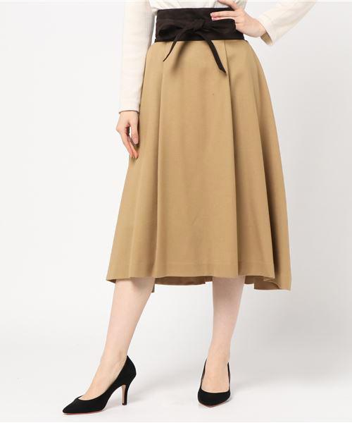 【本物保証】 【セール】サッシュ付きミモレスカート(スカート)|NOLLEY