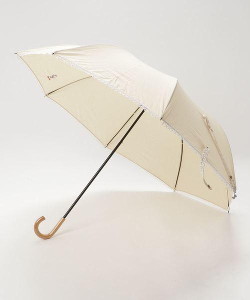 【HELLO KITTY/ハローキティ】 T/Cムジx裾リボンレースショートワイド晴雨兼用 折りたたみ傘 86324 SGT