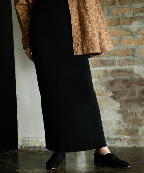 niko and...(ニコアンド)の「リブタイトマキシニットスカート(スカート)」|ブラック