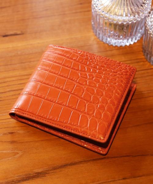 クロコダイルレザー折り財布マット加工両カード