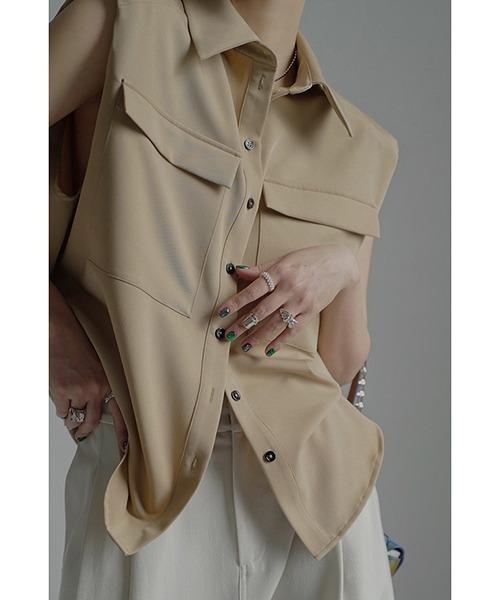 【chuclla】Power shoulder sleeveless shirt chw1537