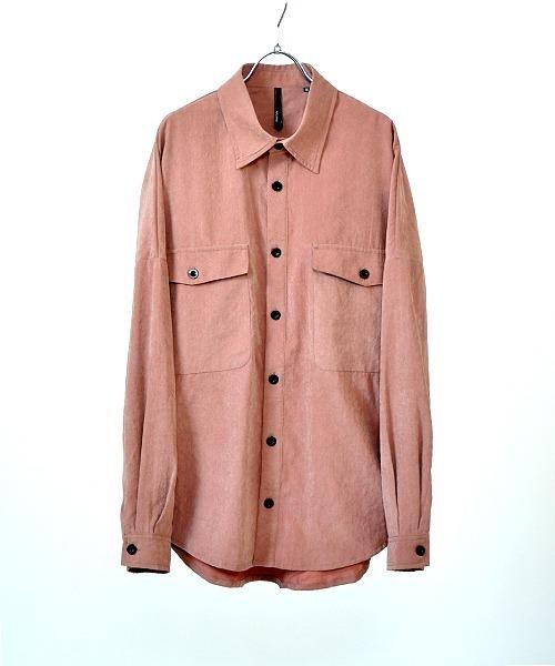 UP START(アップスタート)の「ポリピーチドルマンスリーブビッグシャツ(シャツ/ブラウス)」|スモークピンク