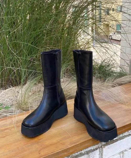 【chuclla】【2021/AW】Platform-sole middle boots chs21a015