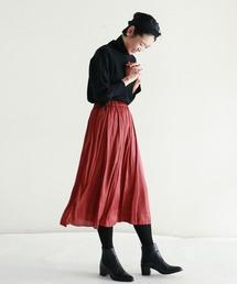 NOMBRE IMPAIR(ノンブルアンペール)のポリエステルサテンワッシャー ギャザースカート(スカート)
