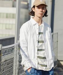 パナマ織り 綿麻ストレッチ長袖シャツホワイト