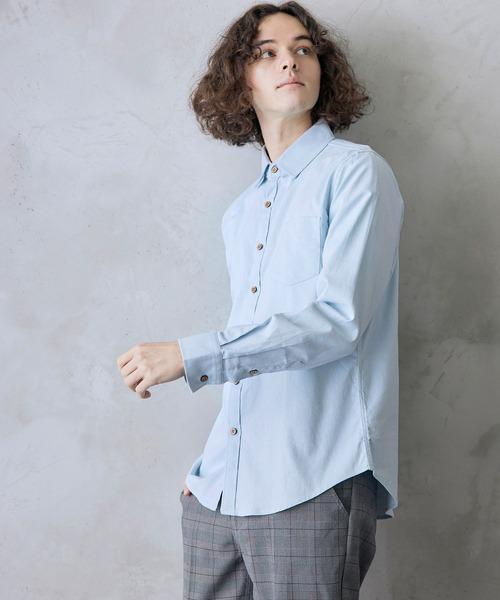パナマ織り 綿麻ストレッチ長袖シャツ