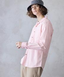パナマ織り 綿麻ストレッチ長袖シャツピンク