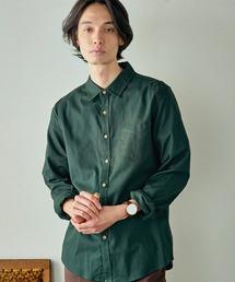 パナマ織り 綿麻ストレッチ長袖シャツグリーン