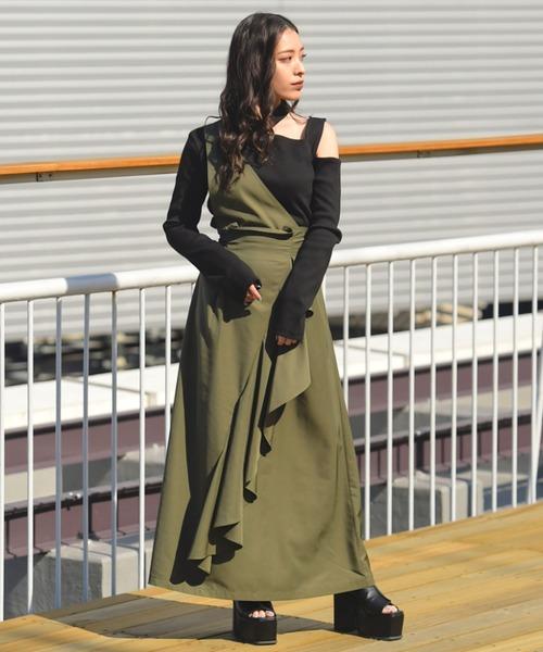 BARAK(バラク)の「2WAYワンショルダーサロペットスカート(ジャンパースカート)」 カーキ
