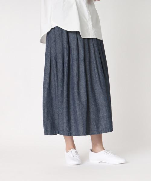 【ubasoku/ウバソク】83丈 裏付タック スカート(デニム) ub-0529-D BNT