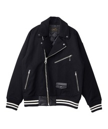 TEAM LOGO刺繍 オーバーサイズライダースジャケットブラック