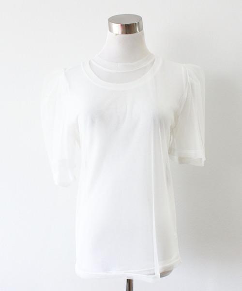 チュールレイヤードTシャツ プルオーバー レイヤードトップス チュールトップス
