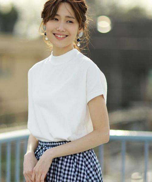 coen(コーエン)の「【WEB限定カラーに新色ブラウン登場】USAコットンハイネックTシャツ(Tシャツ/カットソー)」|ホワイト