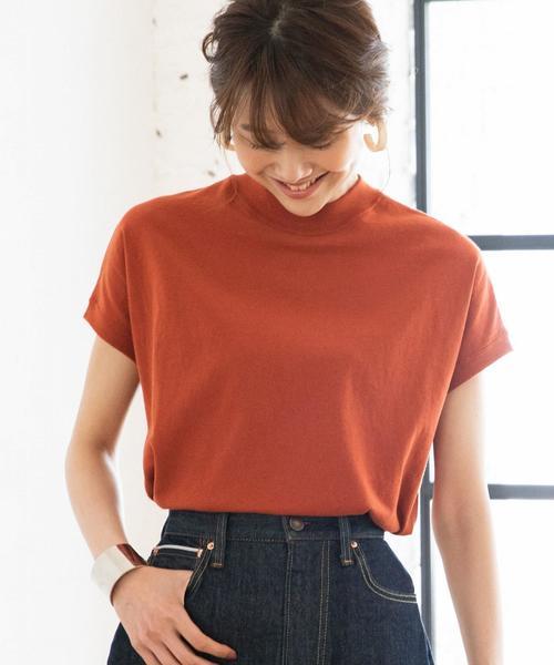 【WEB限定カラーに新色ブラウン登場】USAコットンハイネックTシャツ