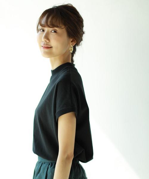 coen(コーエン)の「【WEB限定カラーに新色ブラウン登場】USAコットンハイネックTシャツ(Tシャツ/カットソー)」|ブラック