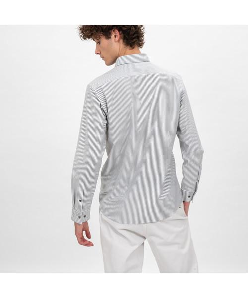 接触冷感ストライプシャツ
