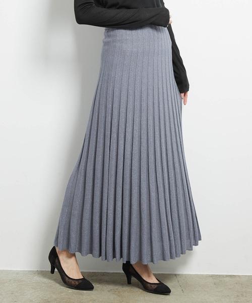 ROPE' PICNIC(ロペピクニック)の「ラメニットプリーツスカート(スカート)」 ブルー系その他4