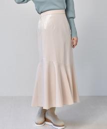 レザーマーメイドスカートアイボリー