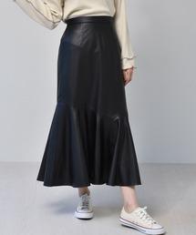 レザーマーメイドスカートブラック
