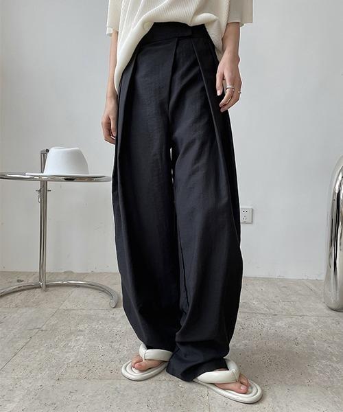 【chuclla】high-waist velcro tuck pants chw1540