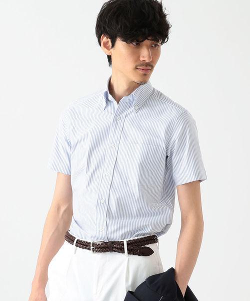 ◎BEAMS F / ブルーストライプ ボタンダウンシャツ