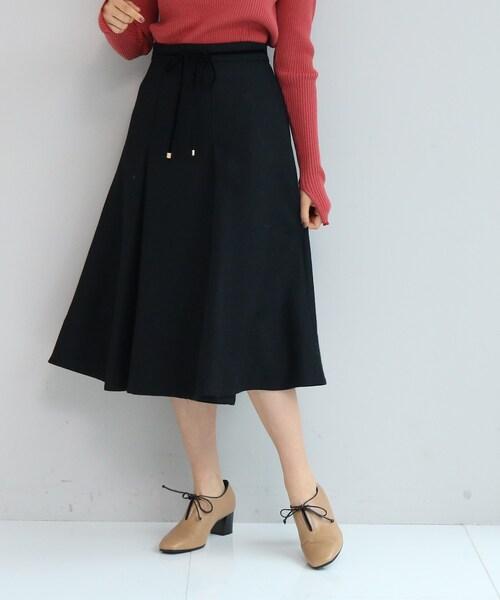 anatelier(アナトリエ)の「【SS-Lサイズあり】リボンベルト付きタックフレアースカート(スカート)」|ブラック系7