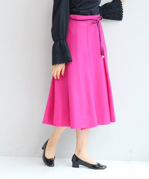 anatelier(アナトリエ)の「【SS-Lサイズあり】リボンベルト付きタックフレアースカート(スカート)」|ピンク系