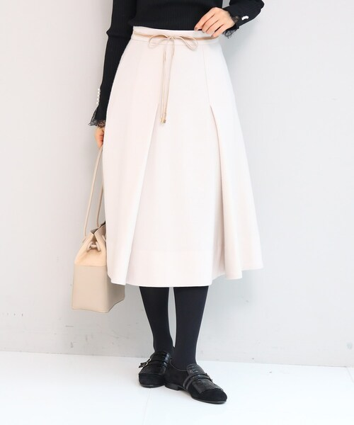 anatelier(アナトリエ)の「【SS-Lサイズあり】リボンベルト付きタックフレアースカート(スカート)」|アイボリー