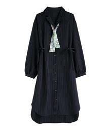 スカーフ付シャツワンピ(ワンピース)
